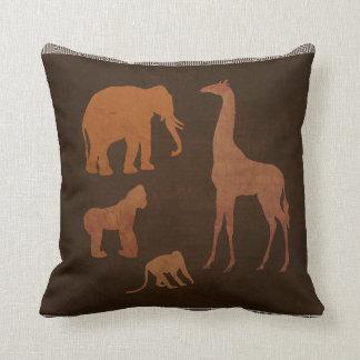 Coussin Animaux de zoo de jungle de safari de Brown