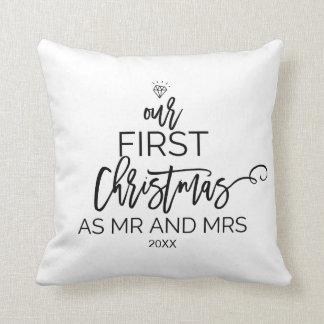 Coussin Arbre de Noël notre premier Noël comme M. et Mme