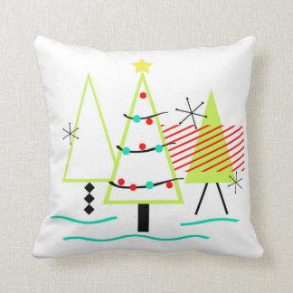 Coussin arbres de Noël modernes de la moitié du siècle