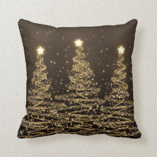 Coussin Arbres de scintillement Brown noir de Noël élégant