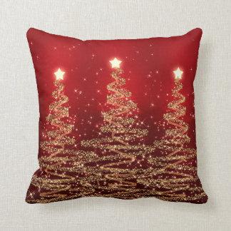 Coussin Arbres de scintillement de Noël élégant rouges