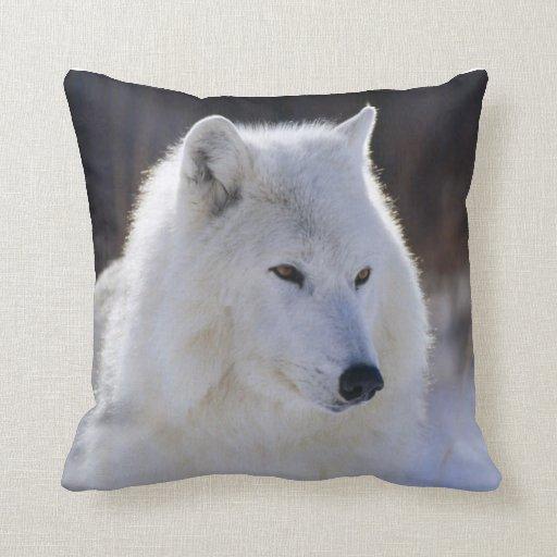 Coussin arctique de loup blanc