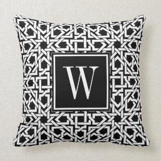 Coussin Armure noire et blanche de treillis de monogramme