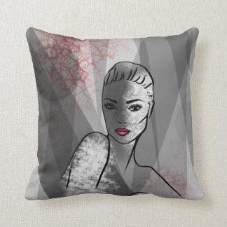 Coussin Art abstrait de joli visage d'illustration de mode