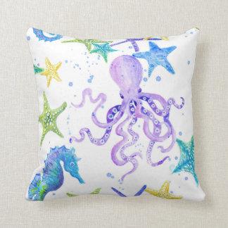Coussin Art côtier d'étoiles de mer d'hippocampe de poulpe