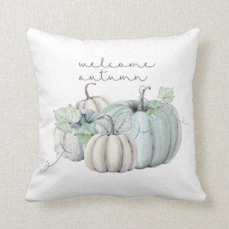 Coussin automne bienvenu - citrouille bleu