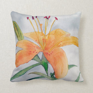 Coussin avec aquarelle d'iris orange