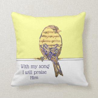 Coussin Avec ma chanson I félicitez-le oiseau d'écriture