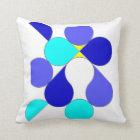 Coussin avec motif géométrique bleu et jaune