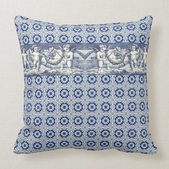 Coussin azulejos chérubins tradition