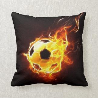 Coussin Ballon de football en flammes