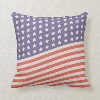Coussin Bannière étoilée vintage fanée de drapeau
