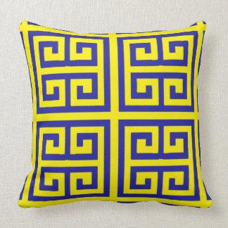 Coussin Beau et moderne motif principal grec jaune bleu
