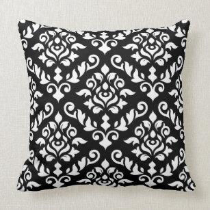Coussin Blanc baroque de motif de damassé sur le noir