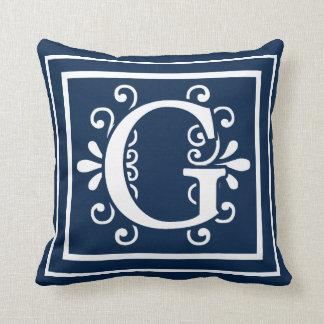 Coussin Blanc de bleu marine de monogramme de la lettre G