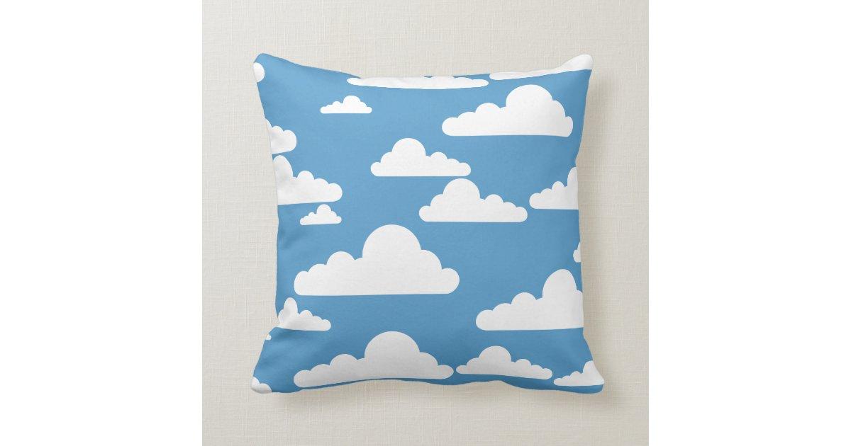 coussin blanc de motif de nuage de ciel bleu zazzle. Black Bedroom Furniture Sets. Home Design Ideas