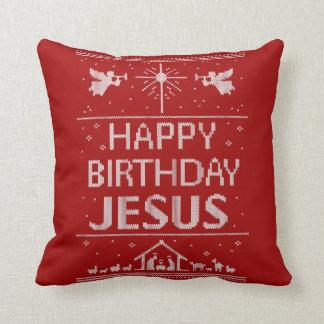Coussin Blanc rouge religieux de Noël de Jésus de joyeux