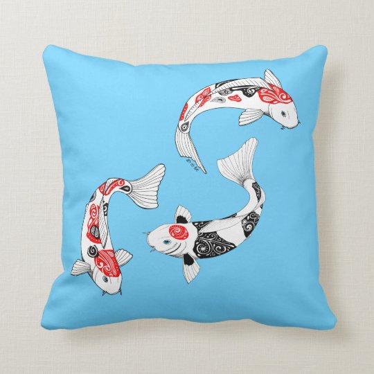 Coussin bleu 3 Kois Pillow blue 3 kois