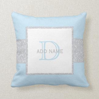 Coussin bleu de bébé de scintillement gris de Faux