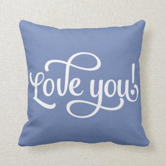 Coussin bleu et blanc d'amour - mariage,