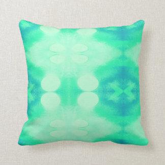 Coussin bleu et vert d'Ikat