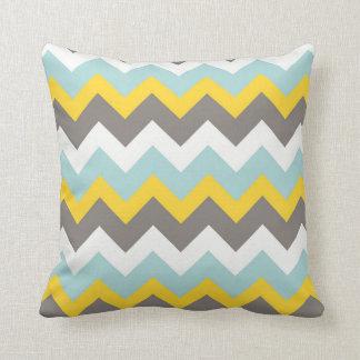 Coussin bleu, jaune, gris, blanc de zigzag de