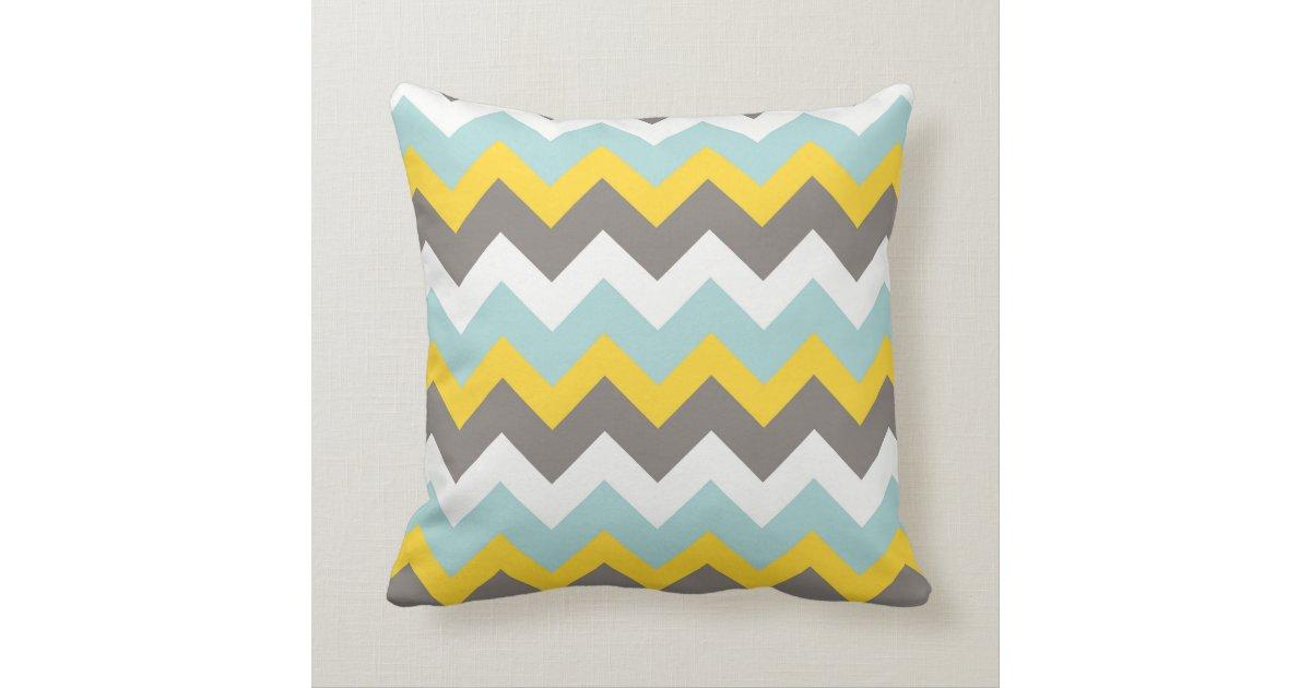 coussin bleu jaune gris blanc de zigzag de. Black Bedroom Furniture Sets. Home Design Ideas