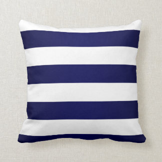 Coussin Bleu marine et grandes rayures blanches