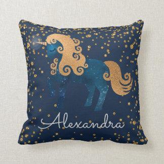 Coussin Bleu marine et licorne de minuit d'or avec des