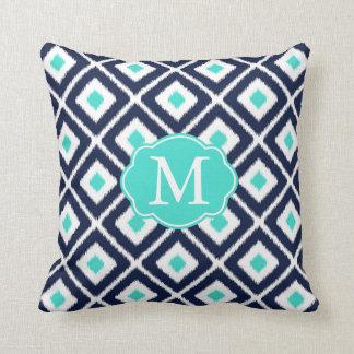 Coussin Bleu marine, turquoise, motif blanc de diamant
