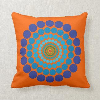 Coussin bleu orange de motif de cercle