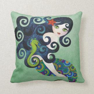 Coussin bleu vert de MoJo d'Américain de sirène