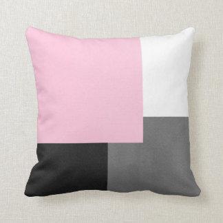Coussin Bloc géométrique noir et blanc gris rose