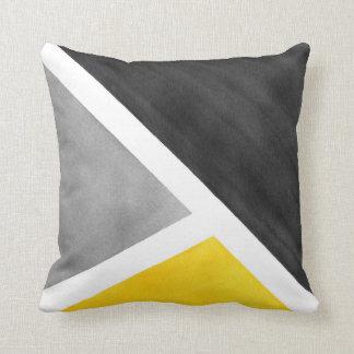Coussin Bloc jaune d'aquarelle de blanc gris