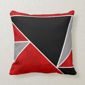 Coussin Bloc noir gris rouge de couleur géométrique