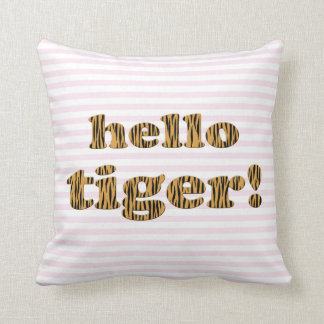 Coussin Bonjour tigre !  Citation rose Tigerprint