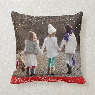 Coussin Bonnes fêtes conception de neige d'amis