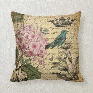 Coussin botanique français d'oiseau d'hortensia de