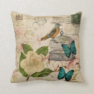 Coussin botanique français d'oiseau floral minable