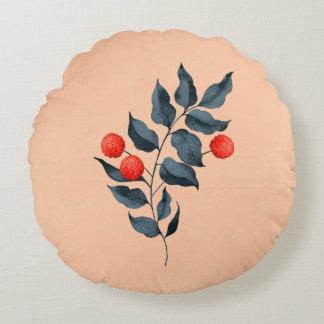 Coussin botanique rond vintage avec la fleur rouge