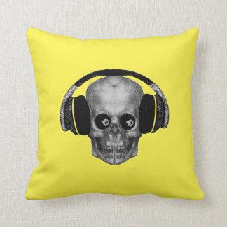 Coussin Boule vintage du crâne 8 avec des écouteurs