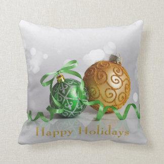 Coussin Boules de Noël de Bokeh de Noël