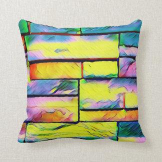 Coussin Briques colorées par arc-en-ciel artistique