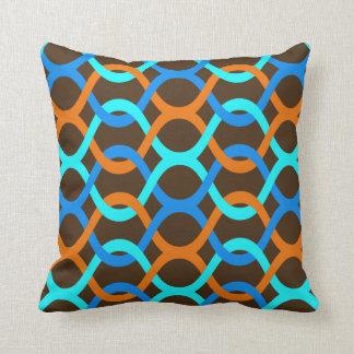 Coussin brun orange rétro d'aqua bleu d'intérieur ou