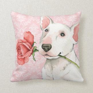 Coussin Bull-terrier rose de Valentine