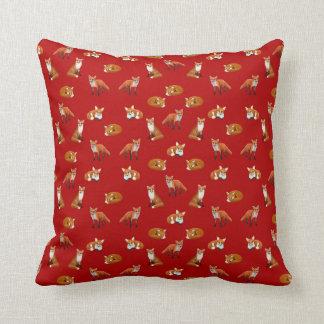 Coussin Canneberge de carreau de famille de Fox rouge