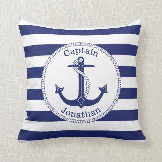 Coussin Capitaine nautique Personalized de bleu marine