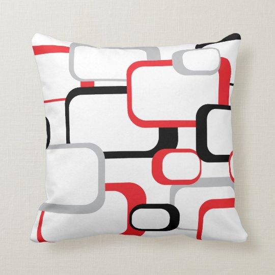 coussin carr de rouge noir et gris r tro. Black Bedroom Furniture Sets. Home Design Ideas