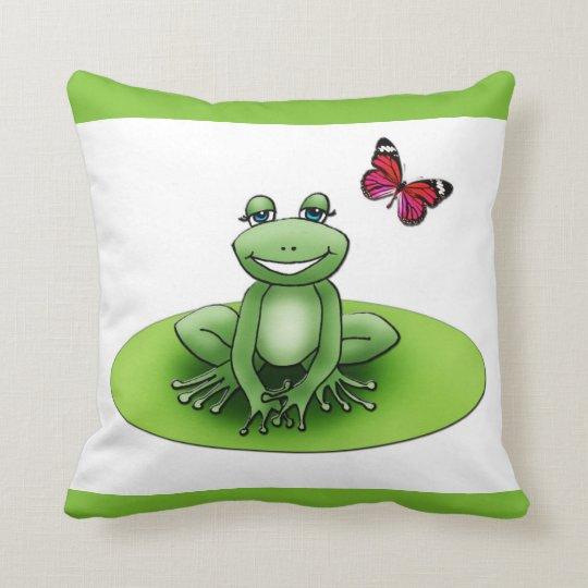 """Coussin carré """"Froggy la grenouille"""", vert pomme"""