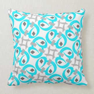Coussin carré Jimette Design turquoise gris blanc